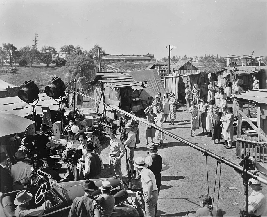 """The Great Depression: """"The Grapes of Wrath"""" movie production crew."""