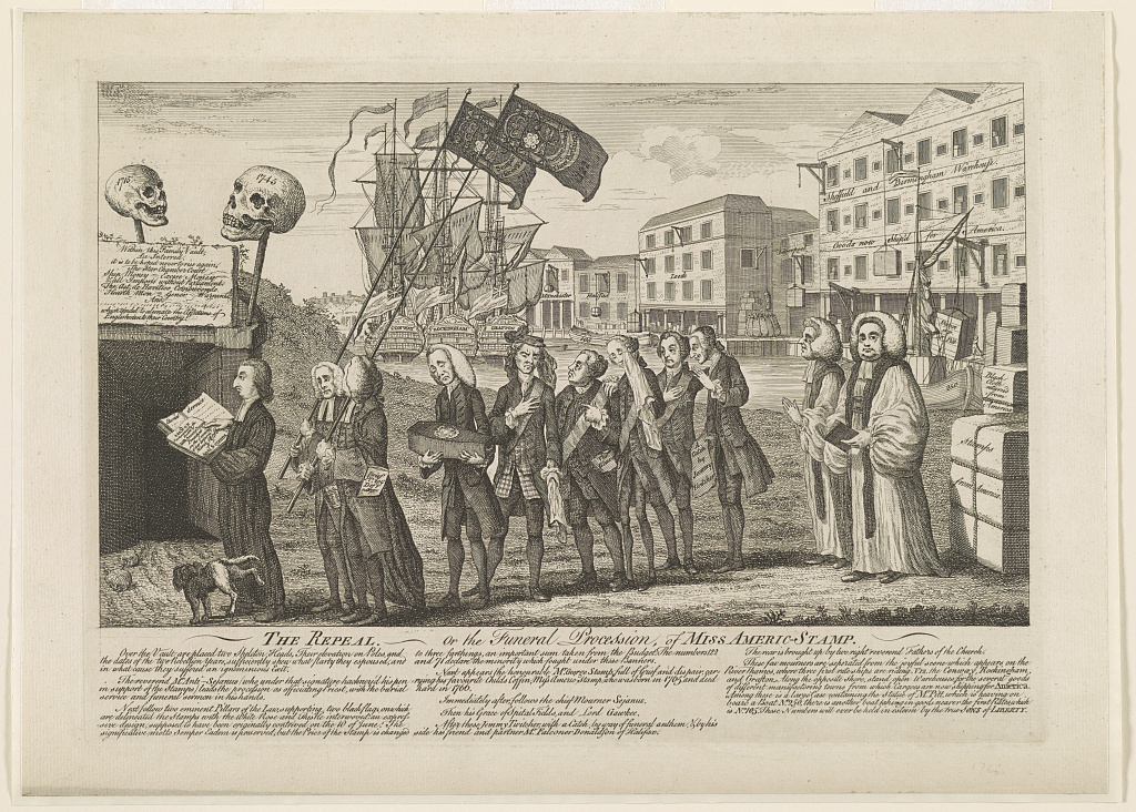 The repeal, or the funeral procession of Miss Americ-Stamp in London